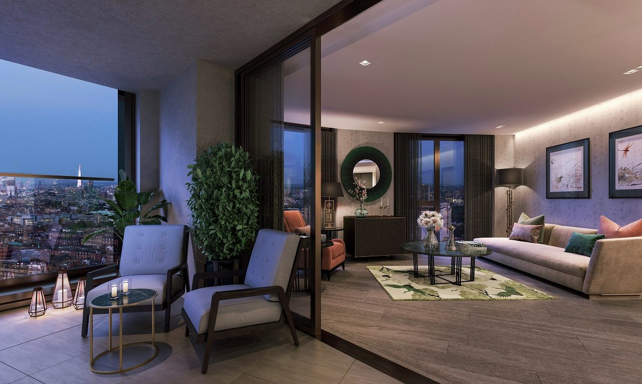 CGI of Apartment Balcony / Living Night