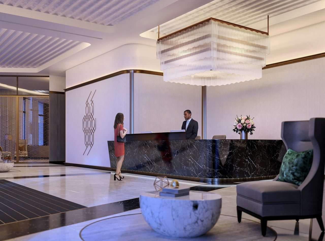CGI of Tower Lobby Interior Dusk